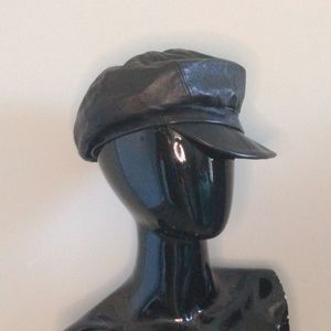 Black Leather Vintage Cabby Newsboy Cap